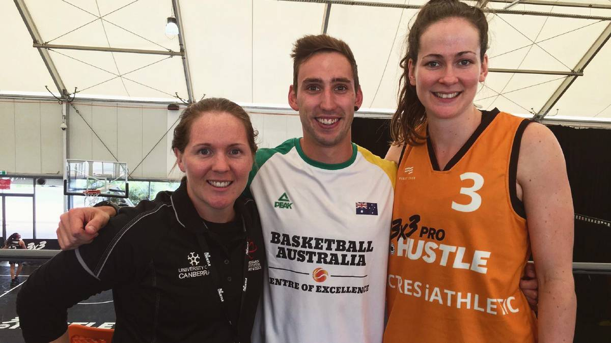 Basketball science: Research supervisor Dr Jocelyn Mara ,with strength and conditioning coach Riley McGown and  Canberra Capitals (WNBL) basketball player and Keely Froling who also was part of the Australian bronze medal winning team from the FIBA three times three Asia Cup.  PHOTO: Contributed